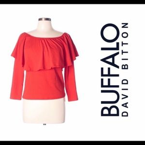 Buffalo jeans | red ruffle top size small